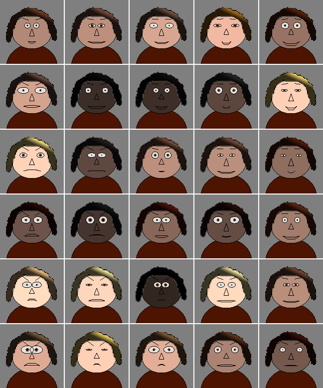 The beginnings of faces for the townspeople.