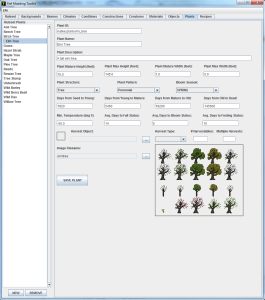 FMT.  Showing the plants tab, where new plant species can be defined.